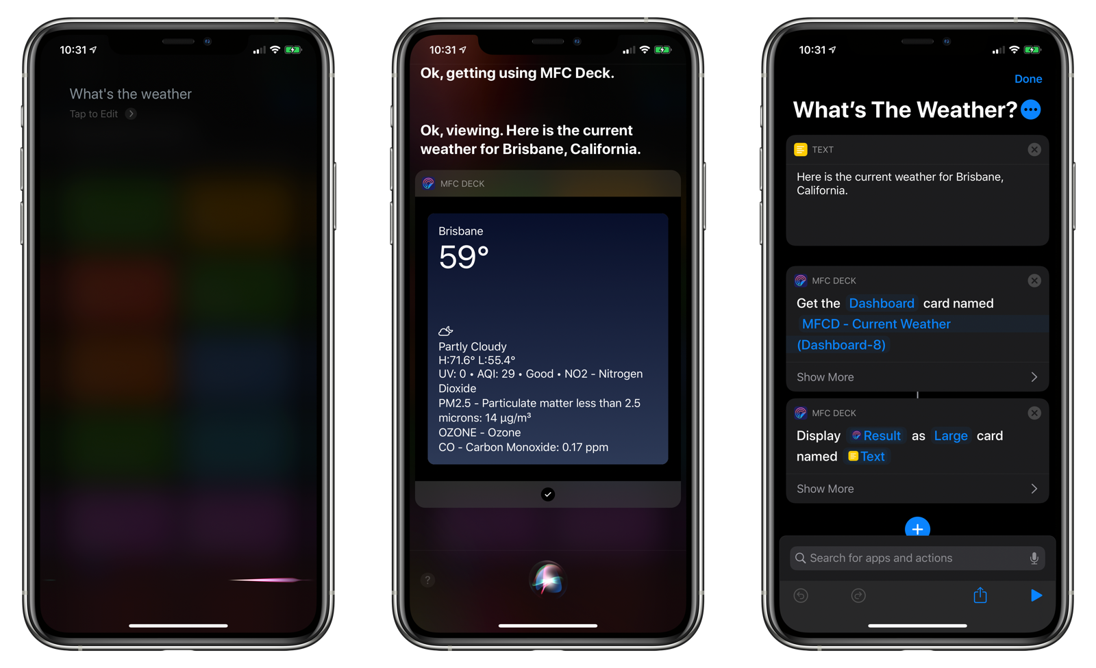 MFC Deck can display cards right in Siri