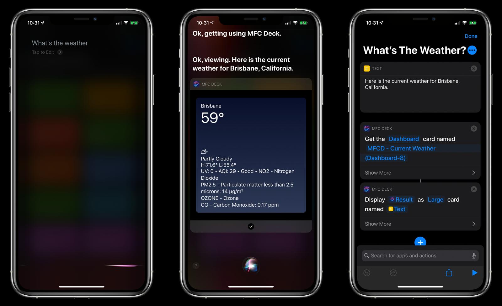 Siri response using MFC Deck