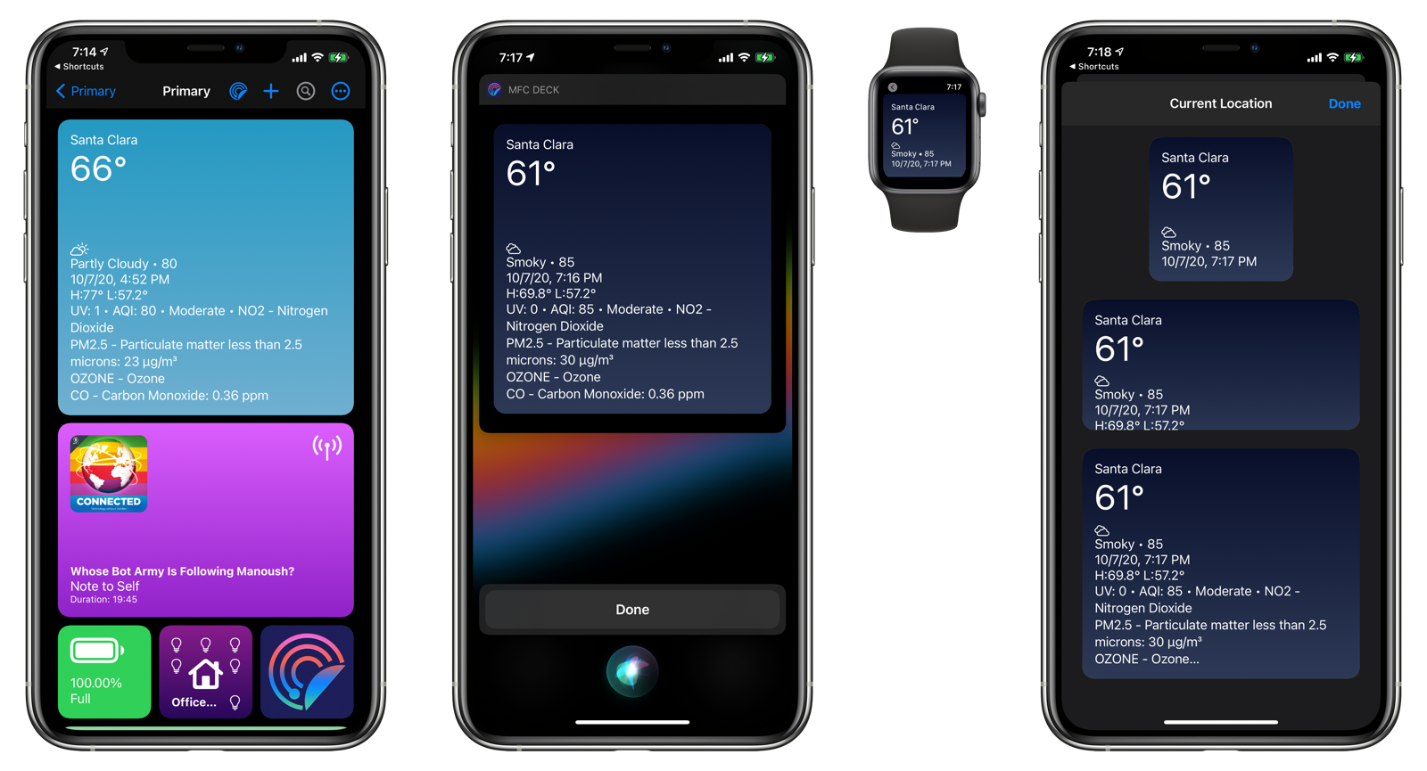 Weather card in MFC Deck, Siri, Apple Watch, and as a Home Screen widget