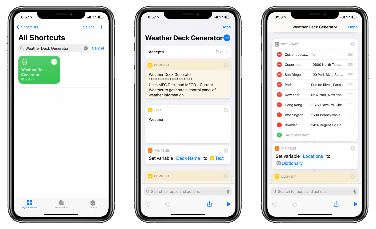 Configuring the Weather Deck Generator shortcut